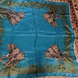 Vintage silk elephant scarf blue